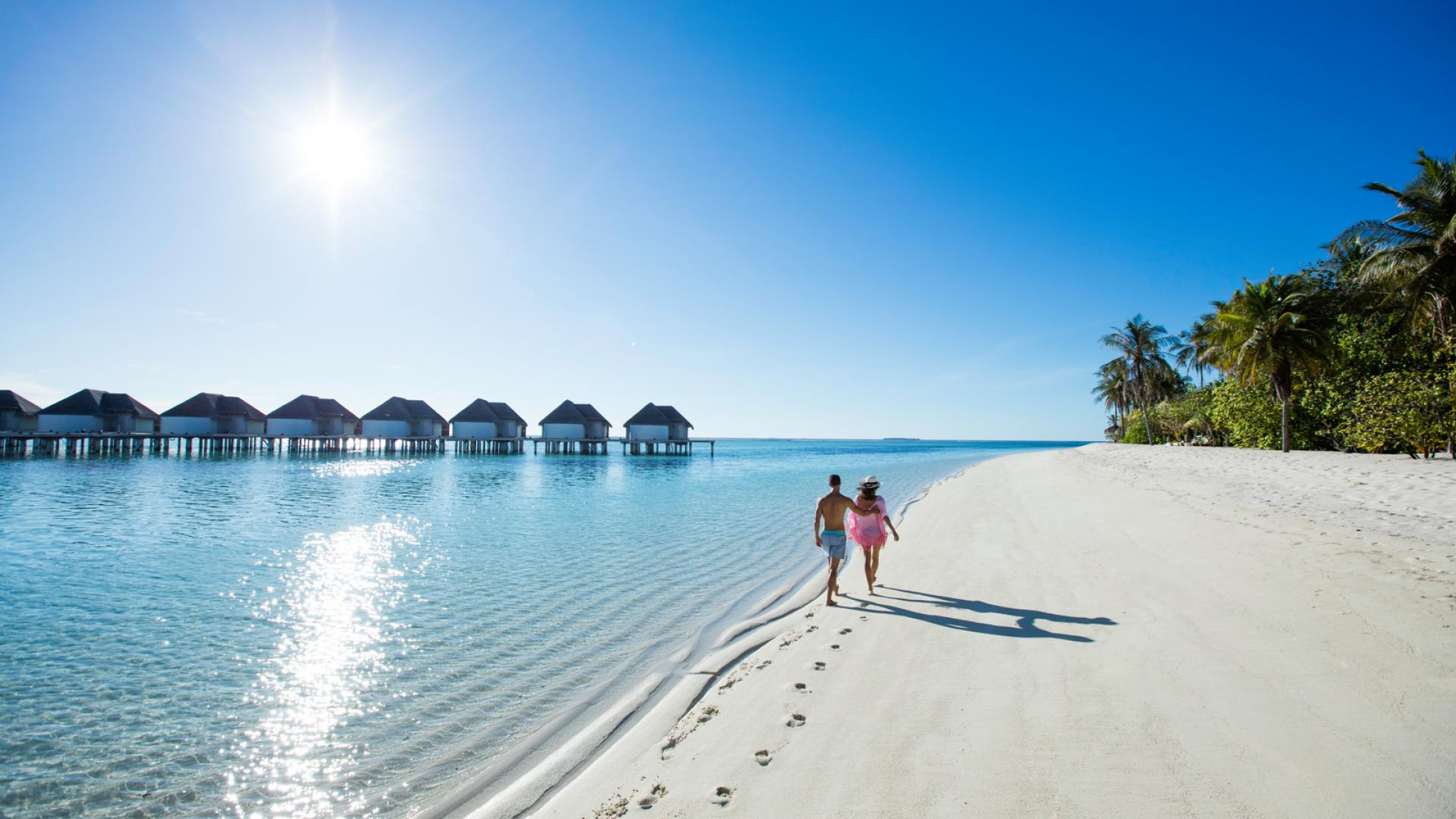 walk on the beach in maldives in kanuhura hotel