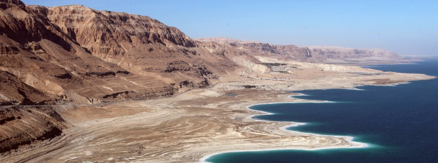 dead sea aerial view and mountains in Israel