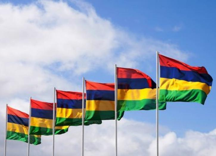 Mauritian flags floating